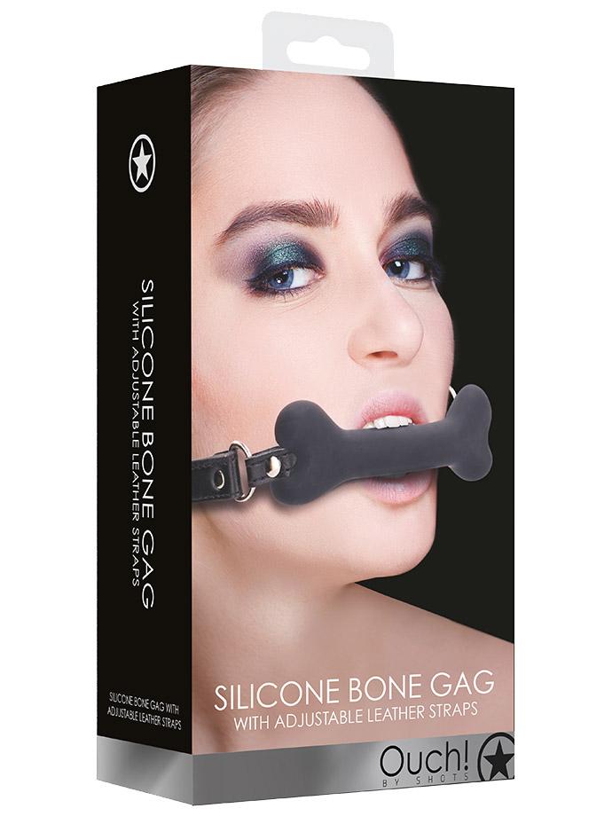 Knebel do ust  BDSM OUCH! Silikonowa kość - czarny