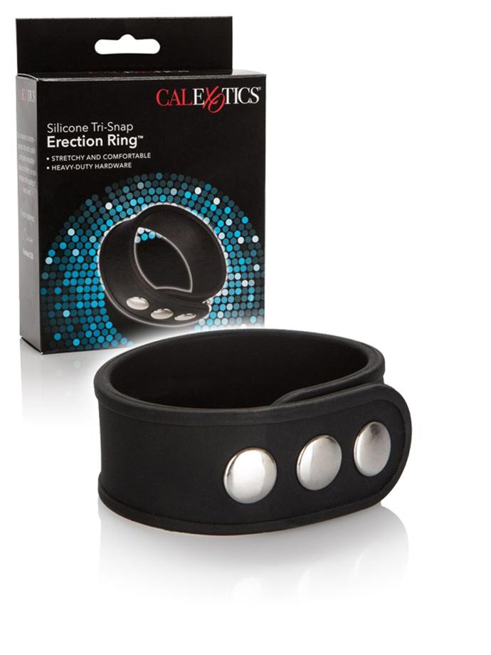 Silikonowy pierścień erekcyjny z zatrzaskami - czarny