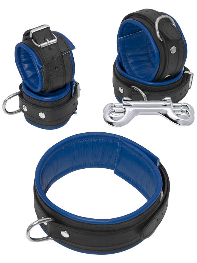 Zestaw do bondage - 5 części - czarno-niebieski