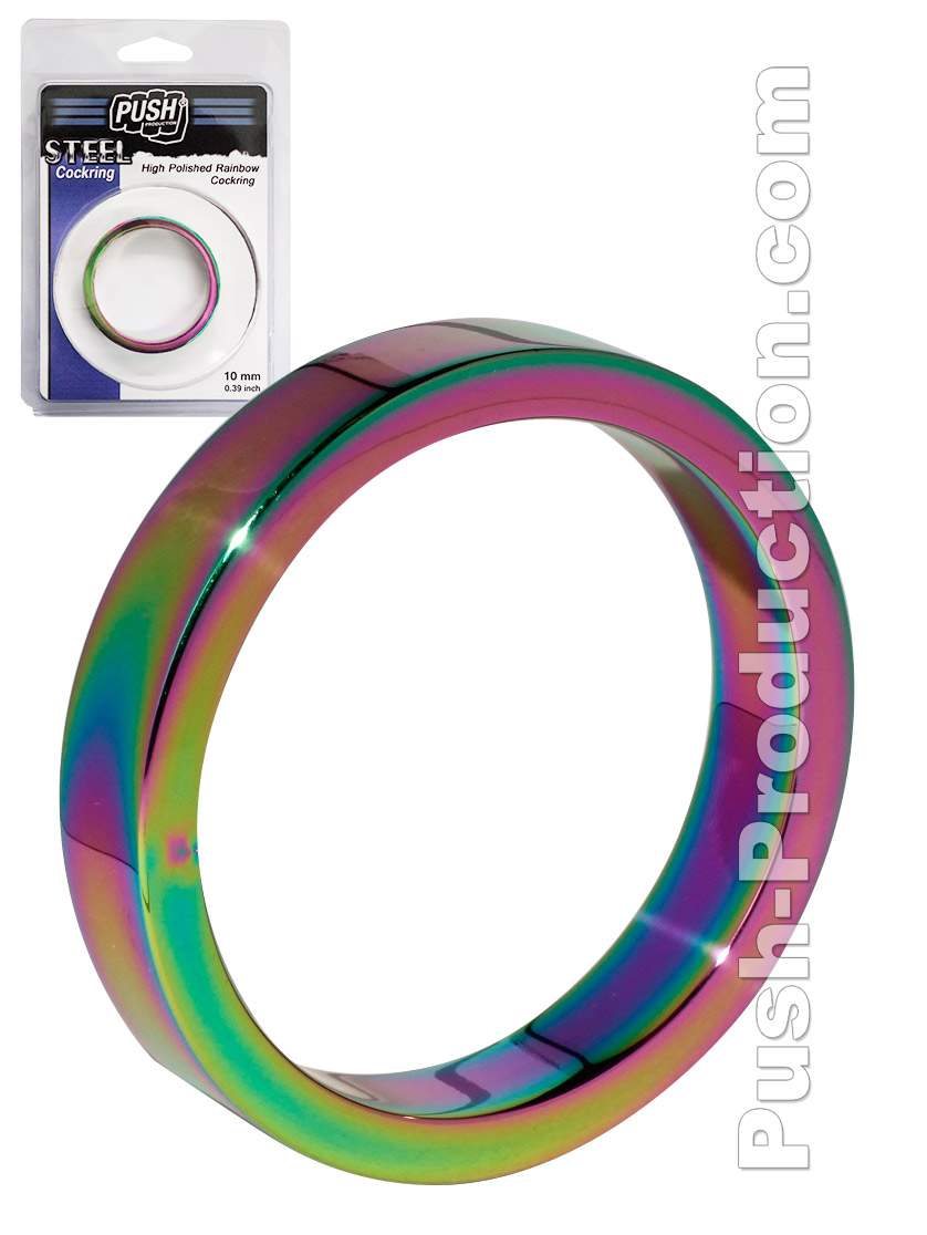 Cock Ring Push Steel - High Polished Rainbow - 10mm