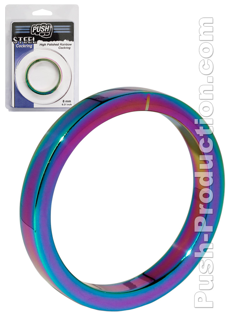 Cock Ring Push Steel - High Polished Rainbow - 8mm