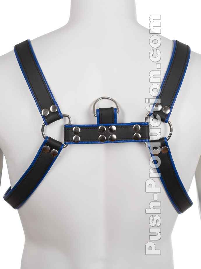Skórzana uprząż BDSM - czarno-niebieska