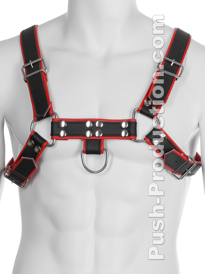 Uprząż BDSM Top Harness - czerno-czerwona - skóra