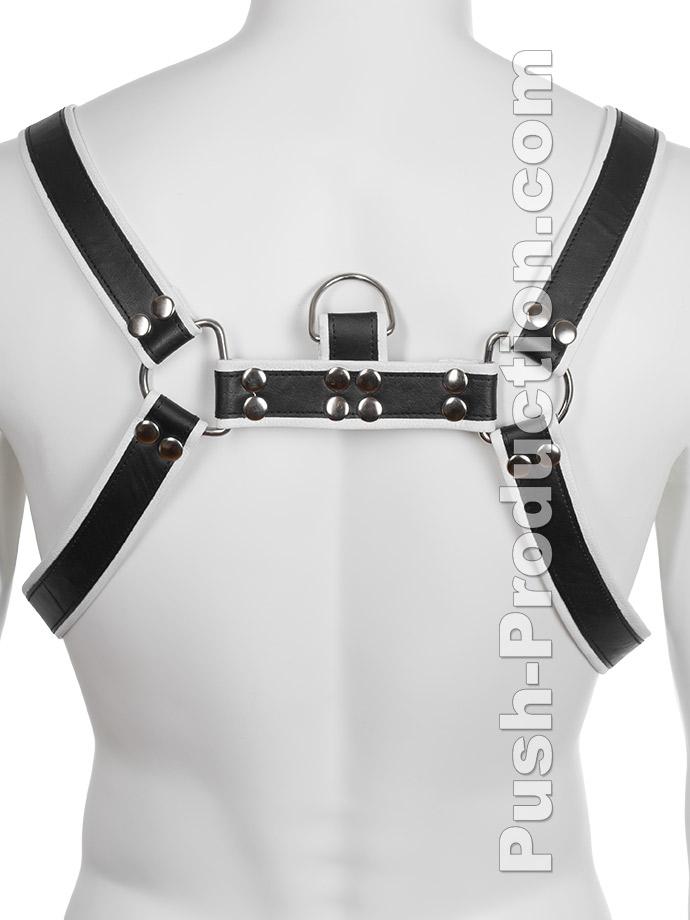 Skórzana uprząż BDSM - czarno-biała