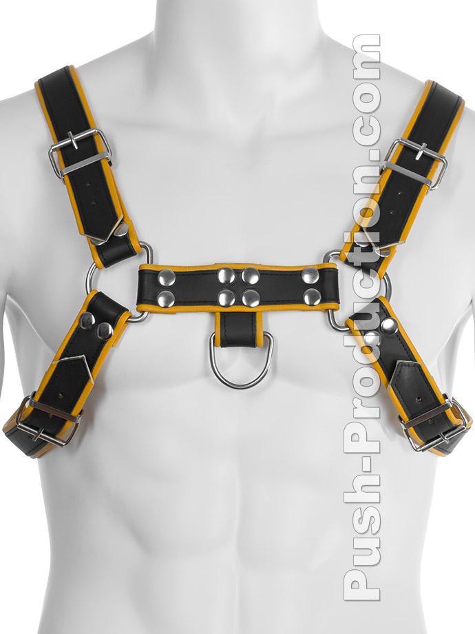 Skórzana uprząż BDSM - czarno-żółta