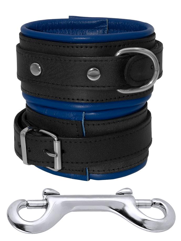 Skórzane mankiety na kostki u nóg czarno-niebieskie