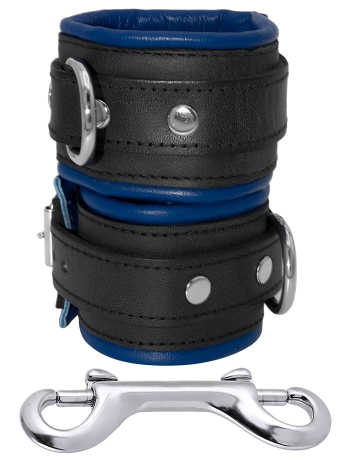 Skórzane mankiety na nadgarstki czarno-niebieskie