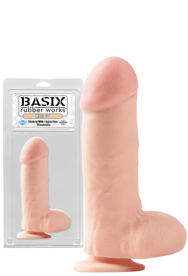 Basix 17,8 cm - Duże dildo z przyssawką i jądrami