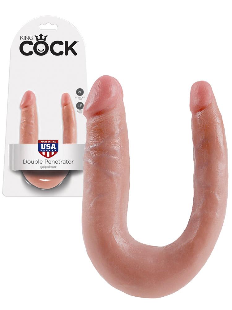 Podwójne dildo King Cock - cieliste - małe