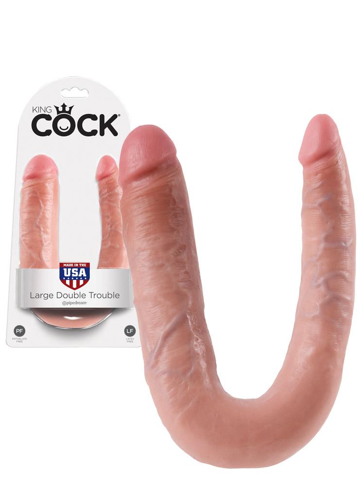 Podwójne dildo King Cock - cieliste - duże