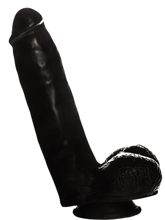 Penis Dildo Push z przyssawką - 20,5 cm - czarne