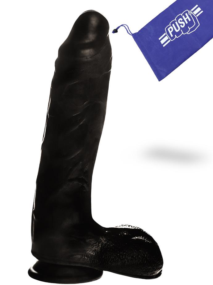 Penis Dildo Push z przyssawką - 22 cm - czarne