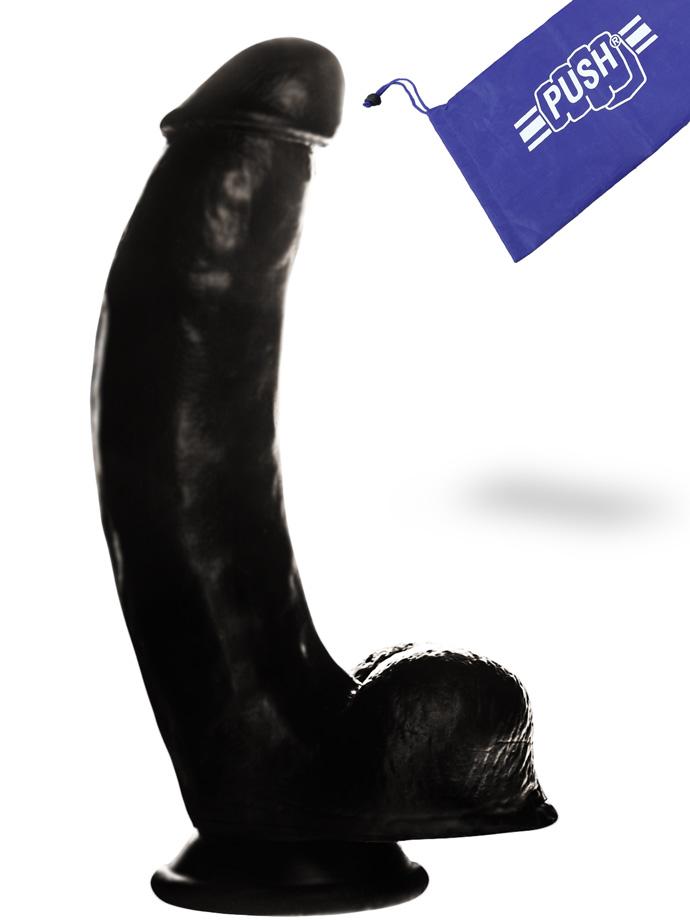 Penis Dildo Push z przyssawką - 21 cm - czarne