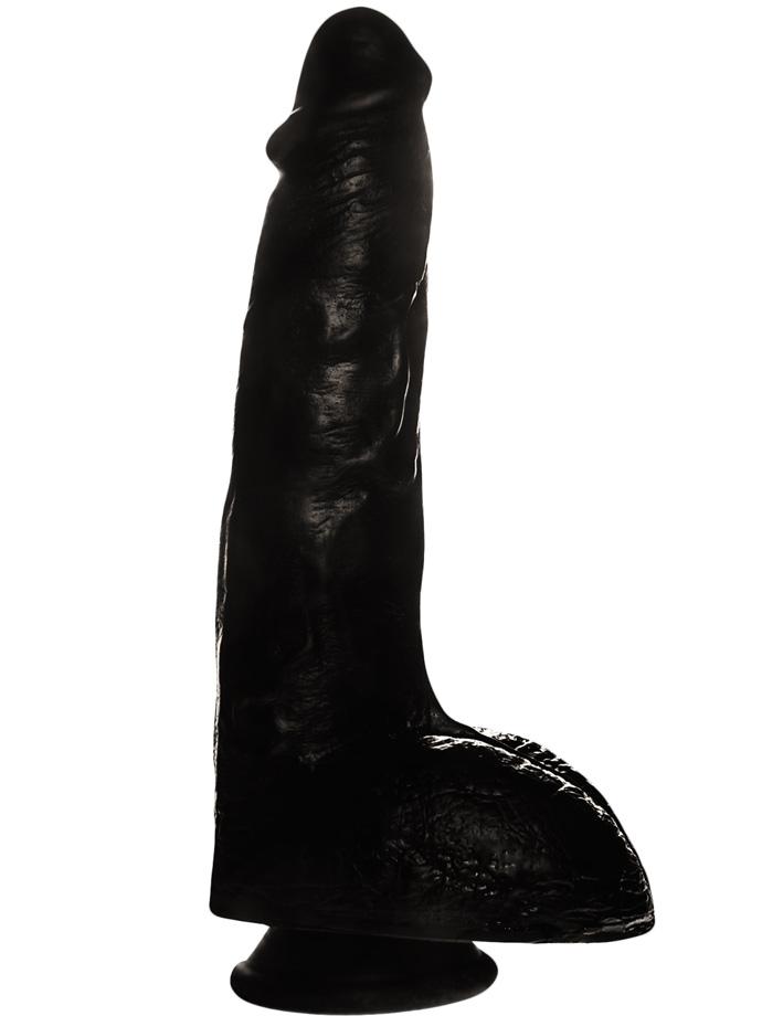 Penis Dildo Push z przyssawką - 23,5 cm - czarne