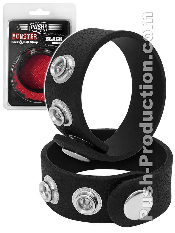 Pierścień erekcyjny Push Monster - Black Rubber