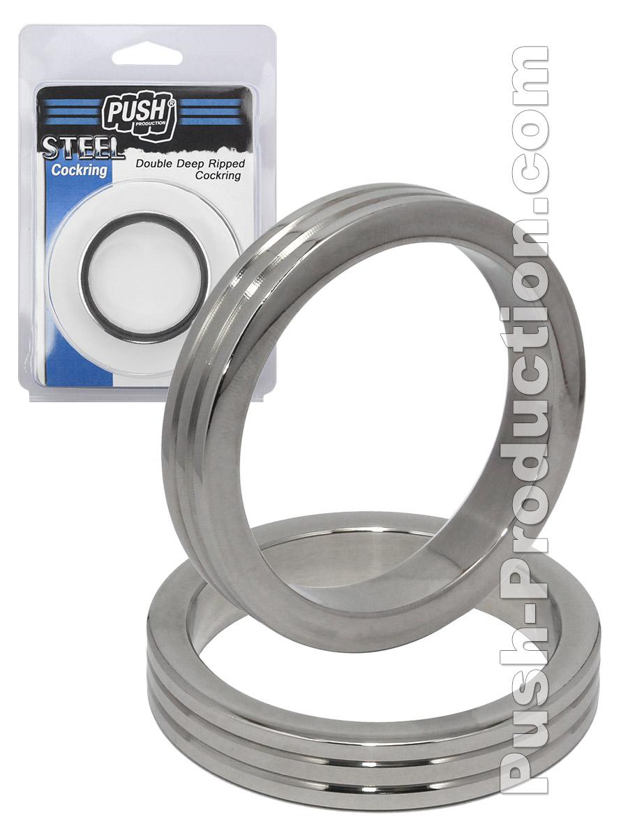 Pierścień erekcyjny Push Steel - Double Deep Ripped
