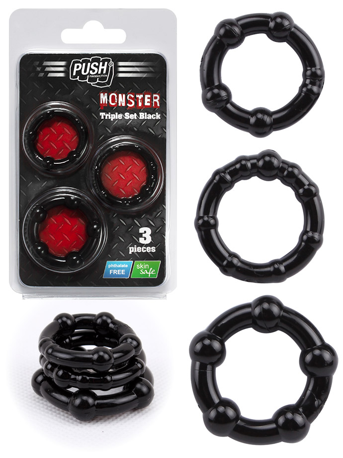 Push Monster Cockring - Triple Set czarny