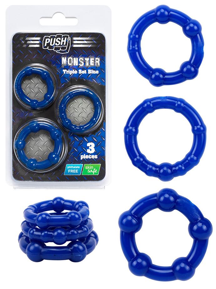 Push Monster Cockring - Triple Set niebieski