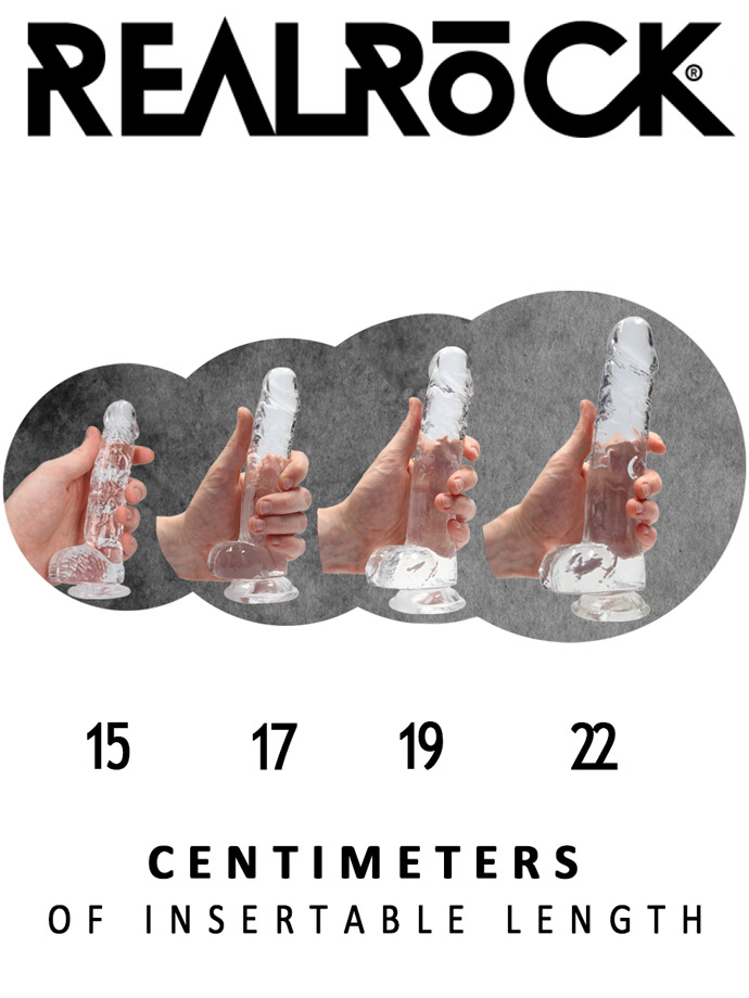 RealRock - Dildo 8 inch with Balls - Crystal Clear