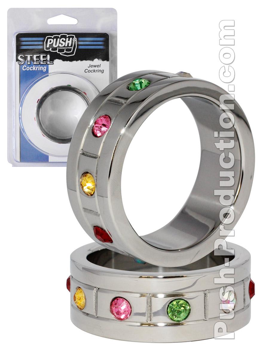 Pierścień erekcyjny Push Steel - Jewel