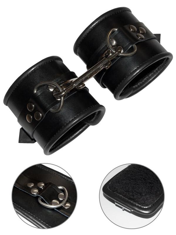 Skórzane mankiety bondage czarne