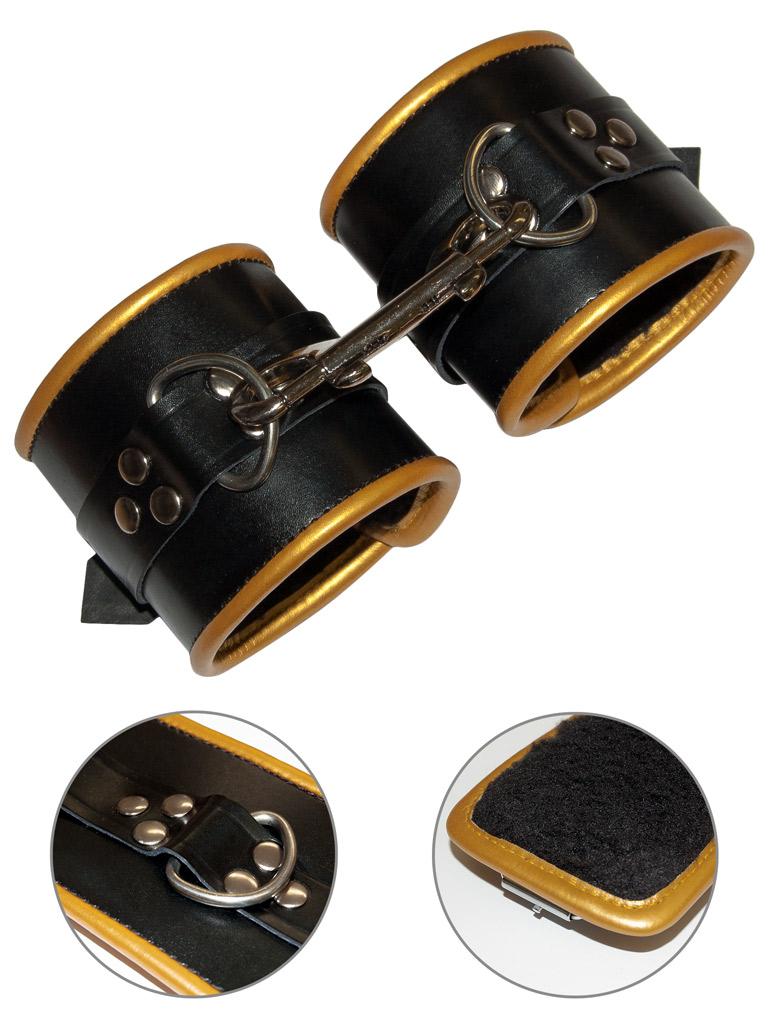 Skórzane mankiety bondage czarno-złote